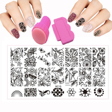 BC Style 12x6cm Nail stamping plates Set Flowers Lace Polish Image Printing Transfer DLY Nail Art Templates + stamp + 1 Scraper