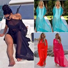 Women Lady Chiffon Beach Wrap Scarf Pareo Beach MAXI Long Dress Solid Thin(China)