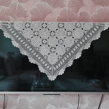 Handmade hook flowers cotton lace hollow square Crocheted Table Cloth / Many Uses place mat Cover Pads/ Vintage Europe Style