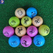 6Pcs/Lot golf ball Emoji Faces Novelty Fun Golf Balls lovely cat and panda pattern golf ball Two layer color golf gift balls