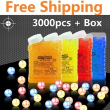 6-Colorful 9mm 3000pcs and a box Crystal Bullet Soft Water Gun Paintball Bullet Bibulous Bullet Gun Toy Accessories Most Pistol(China)