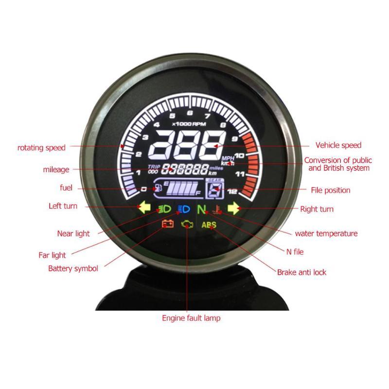 12V Motorcycle LCD Digital Speedometer Tachometer Water Temp Fuel Gauge