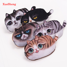 1PC Kawaii Cats Zipper Pencils Bags Cute 3D Plush Pencils Case Large Capacity School Supplies Stationery Pen Box