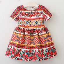 Buy Girls Flower Dress 2017 New Autumn Short Sleeve Rose Flower Geometric Print Dresses Kids Floral Dress 3-8T Children Clothes for $22.80 in AliExpress store