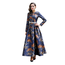 Buy Vintage Printed Flowers Autumn Maxi Dress Slim Waist Blue Women Clothing Muslim Long Sleeve Party Dresses Robe 5929 for $65.59 in AliExpress store