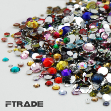 Mixed Sizes SS6-SS30(2MM-6.5MM)36color Acrylic rhinestones 3D Nail Art flat back rhinestones DIY crystal for dress jewelry Shiny(China)