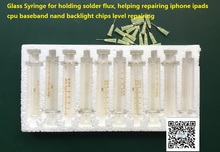 Glass Syringe for holding solder flux, helping repairing iphone ipads cpu baseband nand backlight chips level repairing