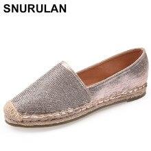 SNURULAN Spring Bling women loafers cane hemp straw fisherman flat heels shoes  espadrilles woman lazy flat zapatos mujer E362 42ad3268383f