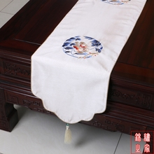 200*33cm Chinese Classic Luxurious embroidered Flower Pattern Brocade White Table Runner and Bed Flag With Tassel