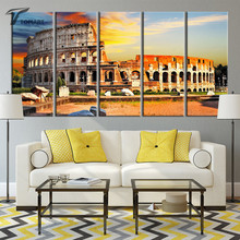Modern Paintings Colosseum Wall Art Canvas Print Collesium Rome Art Wall Pictures 5 Piece Large Painting Set Decoration No Frame