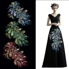 Large Embroidered Peacock Blue Gold Sequins Trimming Floral Applique Lace Motif(China)