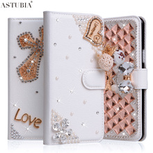For Samsung Galaxy S Duos GT-S7562 Case 3D Glitter Rhinestone Wallet PU Leather Cover Diamond Handmade Fundas Para Mobile Shell
