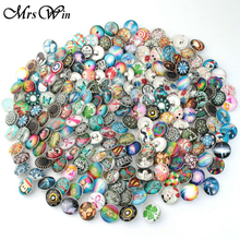 120pcs/lot Randomly Mixed 12mm Snap Buttons with Zinc Alloy Bottom Print Glass Cabochon Fit DIY Snap Bracelets&Bangles Jewelry