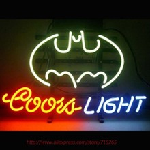 COORS LIGHT BATMAN Neon Sign Bat Neon Bulbs Real Glass Tube Decorate Beer Pub Led Neon 36 Tube Glass Indoor Cool Neon Lamp 17x14