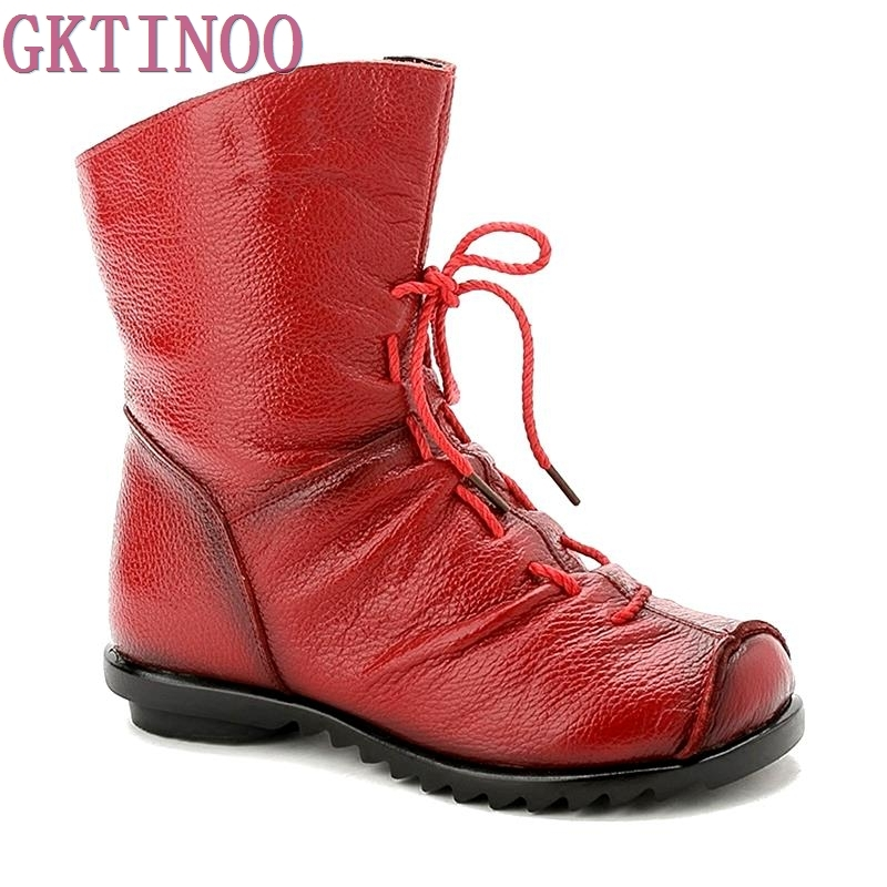 2017 High Quality Genuine Leather Women Boots Casual Ladies Martin Shoes Winter Flat Boots Plush large size<br>
