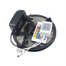 Waterproof 12V 5M Flexible 5050 SMD RGB LED Strip Light / 24 Key Remoter Controller / 3A Power Adapter Tape lamp Home Decor(China)