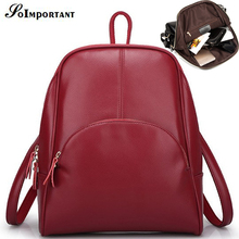 Women Leather Vintage Backpack School Bags For Teenagers Women Large Casual Tote Travel Backpack Girl High Quality Shoulder Bag