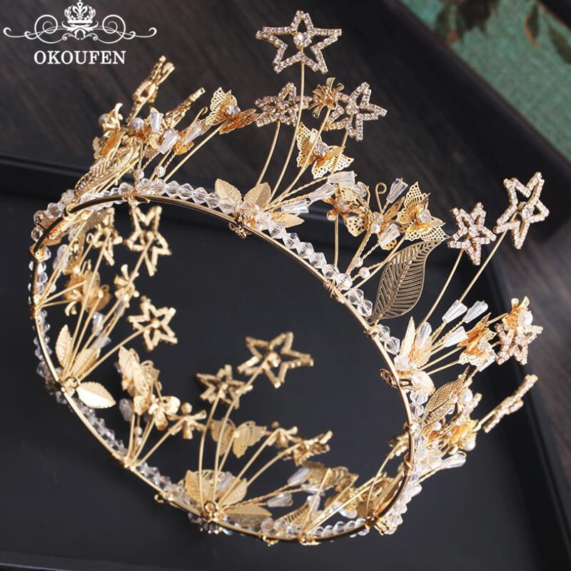 Big Baroque Round Crowns Rhinestone Crystal Pageant Wedding Hair Accessories Gold Alloy Headbands Headwear For Women Jewelry