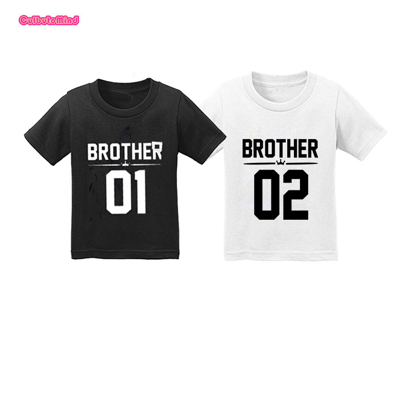 Qinf Big Sister und Little Brother Familie Passende Outfits Kleiner Bruder Outfits Little Brother Strampler Big Sister T-Shirt Tops Cotton Outfits