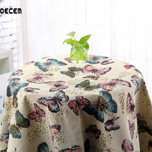 Retro Butterfly Printed Natural Cotton Linen Fabric Patchwork Linen Fabric Tissus For Table Cloth Curtain Pillow OM90