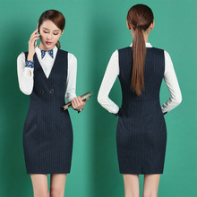 New 2017 Spring Fashion Striped Formal V-neck Dress Beauty Salon Professional Ladies Dress Tops Vestido Uniforms Work Wear