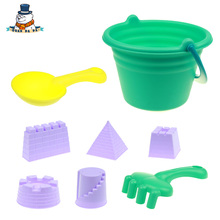 [QuanPaPa] 8 Pcs/Set High Quality Beach Toy Bucket Shovels Plastic Water Sand Tool Baby Bath Toys Best Gift For Kids ST05