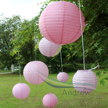7pcs (6-16inch) Chinese Round Paper Lantern Pink Color Led Lamp DIY Pattern Hanging Ball Wedding Festival Outdoor Party Decor