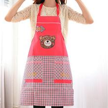 High Quality Fashion PE Waterproof Apron Women Apron Cartoon Bear Long Sleeve Cuff Waterproof Aprons Household Cleaning Tools