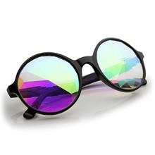 2pcs Free Shipping,Diffraction Glass Kaleidoscope lens Glasses Round Kaleidoscope Sunglasses Fashion 3d Rave Parties Eyewear(China)