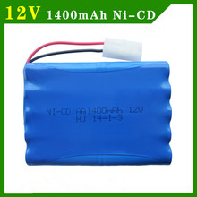 12v 1400mah ni-cd 12v aa nicd batteries aa battery pack ni cd rechargeable for RC boat model car electric toys tank(China)