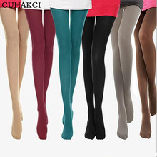 CUHAKCI Tight 8 Colors New 2017 Woman Velvet Candy Color 120D Pantyhose Plus Size Multicolour Stovepipe Tights Women(China)