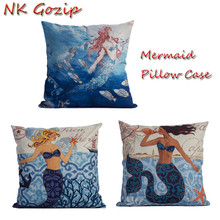 NK Gozip Cushion Cover Sea-maid Pattern Car Sofa Chair Seat Square Pillowcase Throw Pillow Cover Case For Pillow Storage Bag