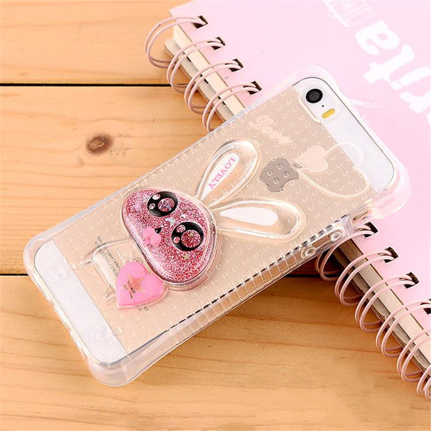 New Cute 3D Rabbit With Dynamic Liquid Quicksand Glitter Clear Phone font b Cases b font