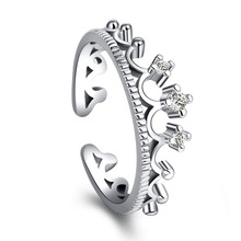 Fashion Lady Opening Crown Crystal Semi-Precious Stones And Silver Articles Jewellery Exquisite Princess Flower Women's Ring