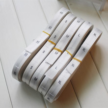 Stock roll satin polyester woven size tags white fabric black letters size labels XS S M L XL XXL  1.2*3.3cm 500pcs a lot