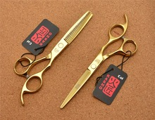 710# 5.5'' Japan Kasho TOP GRADE Golden Hairdressing Scissors 440C 62HRC Barbers Cutting Scissors Thinning Shears Hair Scissors(China)