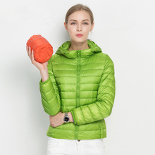 Woman Fall Winter Padded Warm Coat Ultra Light Duck Down Jacket Female Overcoat Slim Solid Jackets Short Coat Portable C76901M(China)