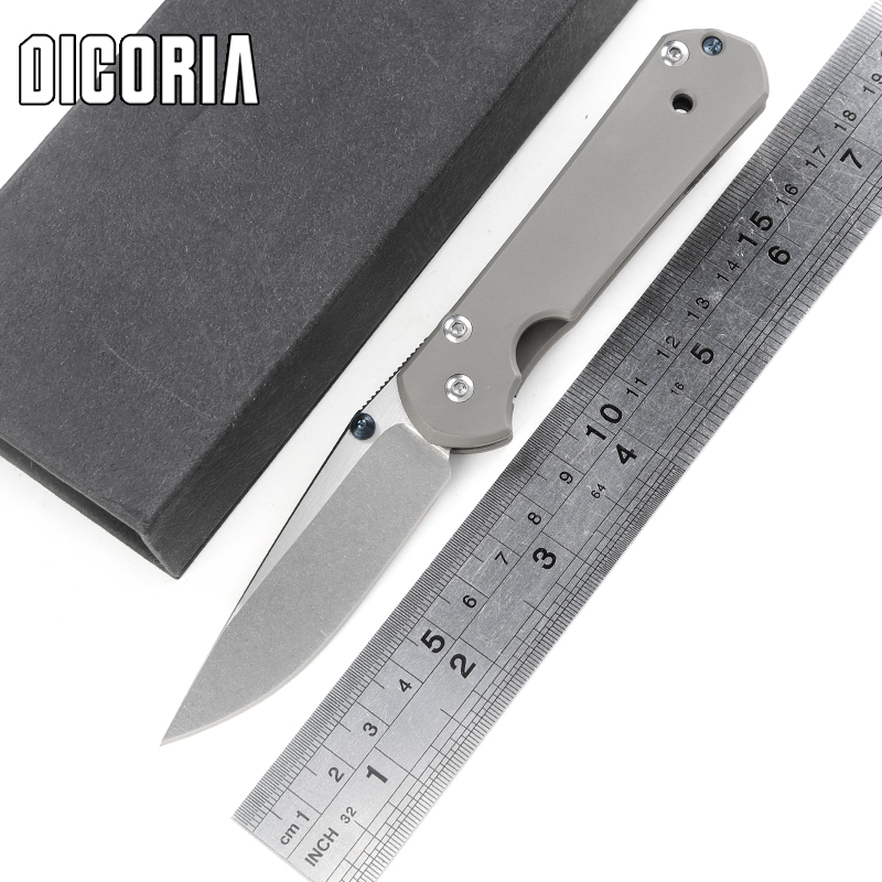 DICORIA small SBZ 21 titanium handle D2 blade Folding knife Tactical camping hunting outdoors survival knives Utility EDC Tools<br>