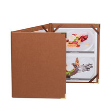 30pcs/lot Support Customized Restaurant Menu Covers Coffee List Folder Brown Color Menu List Holders Menu Book A4 Size