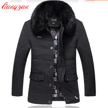 Men Down Coats Fur Detachable Winter Warm Snow Thick Overcoats Brand Medium Long Casual High Qualty Down Cotton Parkas F2332