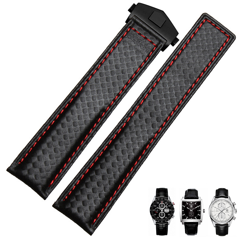 TJP Brands 20mm 22mm High Quality Black Carbon Fiber Leather Watchband With Red Stitched Strap Bracelet For TAG CARRERA Watch <br>