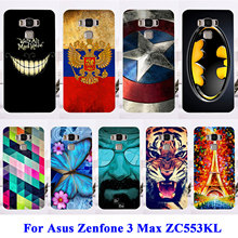 "Soft TPU Hard Plastic Phone Cases For Asus Zenfone 3 Max ZC553KL Zenfone3 Max 5.5"" Housing Covers Tiger  Captain American Shell"