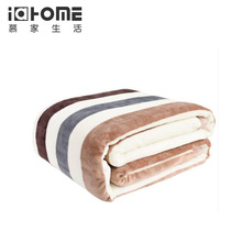 Free shipping soft blanket ,stripe printed designs thick bedding room Blanket,i @ home brand,usefull plaids