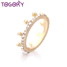 TOGORY New Arrival Magic Crown Clear CZ Anel Female Pandora Ring For Women Wedding Engagement Jewelry(China)