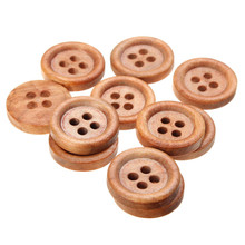 50pcs/set Natural Wooden Sewing Buttons 4 Hole DIY Clothing Decoration Garment Accessories Supplies 15mm Dark Brown
