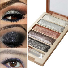 Professional Eye Makeup 5 Colors Eyeshadow Palette Gold Cosmetics Makeup Palette Diamond Bright Glitter Long lasting Eye Shadow