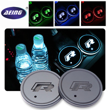 "AEING 2 pcs Car Multicolor LED ""R"" Cup Coaster for Volkswagen VW Golf 6 GTI passat B6 Touran Tiguan Jetta MK4 MK5 MK6 POLO CC(China)"