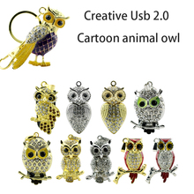 real capacity USB Flash Drive Diamond Metal Material Owl Cartoon USB 2.0 Flash Drive U Disk to 4 GB 8 GB 16 GB 32GB flash drive(China)