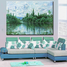 wall Picture oil painting claude monet arm of the seine near vetheuil impress painter print wall painting No Framed(China)