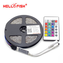 HELLO FISH 2835/3528 RGB Flexible 300 LED Tape + 24 keys IR Remote Controller, Single color without controller(China)